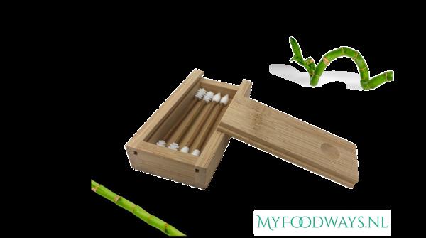 Bamboe Herbruikbare Wattenstaafjes (4 Stuks) Inclusief Bamboe Doosje