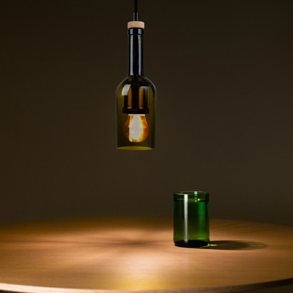 Rebottled wijnfles lamp