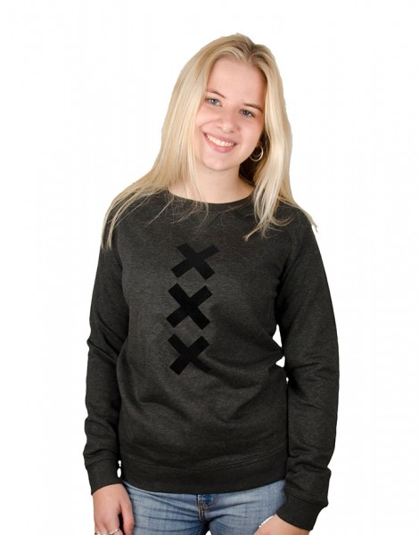 XXX Amsterdam Sweater - Crew Neck - Dark Heather Grey (Black Suede)