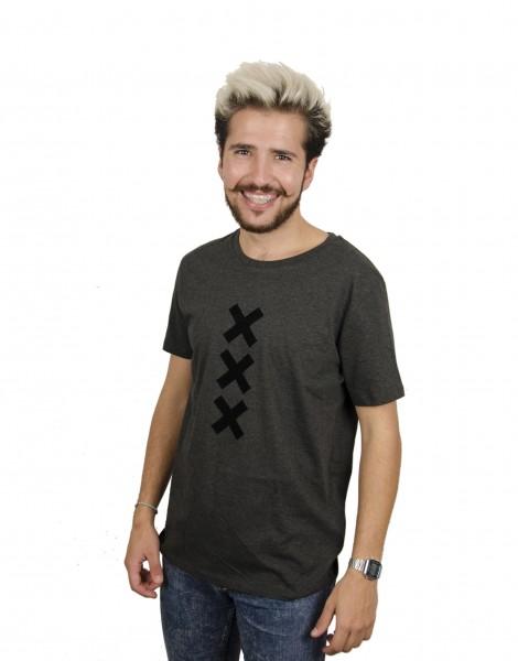 XXX Amsterdam T-shirt - Dark Heather Grey (Black Suede)