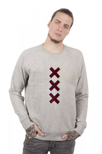 XXX Amsterdam Sweater - Heather Grey (Burgundy Suede)